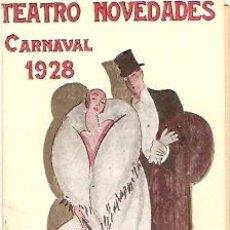Carteles Feria: TEATRO NOVEDADES CARNAVAL 1928. Lote 11838319