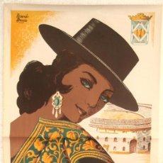 Carteles Feria: CARTEL LINARES JAEN, FERIAS Y FIESTAS 1965 GRANDE , ILUSTRADOR RICARDO ANAYA , LITOGRAFICO. Lote 180315436