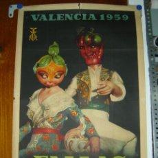 Carteles Feria: PRECIOSO CARTEL DE VALENCIA - FALLAS - MARZO DE 1959 - OFSSET - ILUSTRADOR: P.. Lote 26992793