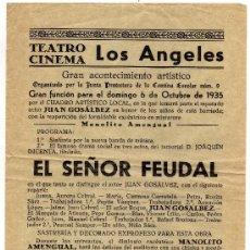 Carteles Feria: CARTELITO DE LAS FIESTA BARRIO LOS ANGELES DE ALICANTE 1935. Lote 14453984
