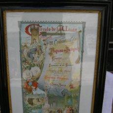 Carteles Feria: CARTEL ORIGINAL IV CENTENARIO DESCUBRIMIENTO DE AMERICA 1892 INDUSTRIA. Lote 26096426