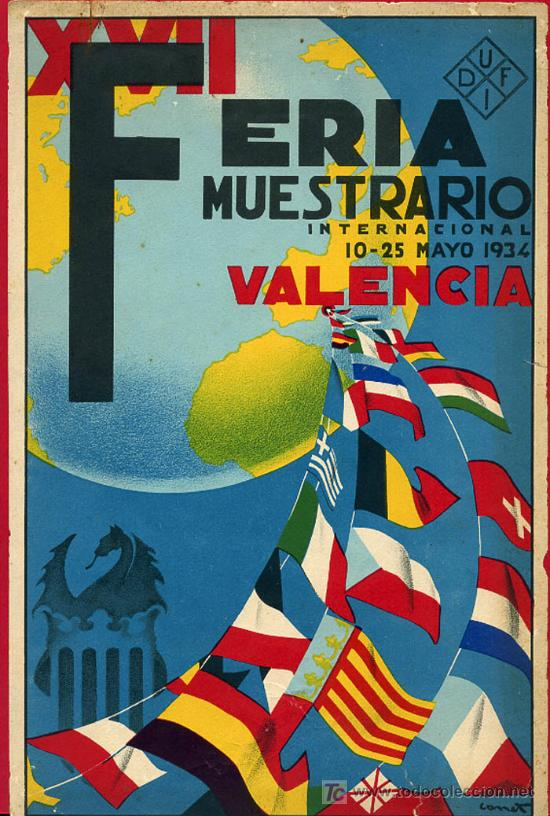 CARTEL VALENCIA, FERIA MUESTRARIO INTERNACIONAL 1934 , ILUSTRADO POR CANET ,BANDERA REPUBLICA (Coleccionismo - Carteles Gran Formato - Carteles Ferias, Fiestas y Festejos)