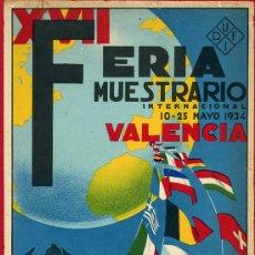 Carteles Feria: CARTEL VALENCIA, FERIA MUESTRARIO INTERNACIONAL 1934 , ILUSTRADO POR CANET ,BANDERA REPUBLICA. Lote 21960184
