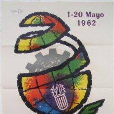 Carteles Feria: CARTEL FERIA MUESTRARIO INTERNACIONAL VALENCIA, 1962 , ILUSTRADO POR GARFEL. Lote 21960189