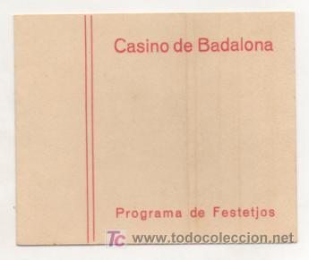 CASINO DE BADALONA. PROGRAMA DE FESTEJOS. CARNAVAL. CINEMA NOU. (Coleccionismo - Carteles Gran Formato - Carteles Ferias, Fiestas y Festejos)