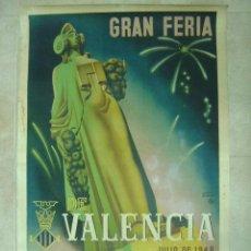 Carteles Feria: GRAN FERIA DE VALENCIA - AÑO 1948 - ILUSTRADO POR ANTOLI CANDELA Y LLOP. Lote 27096071