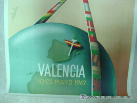 Carteles Feria: XXV FERIA MUESTRARIO INTERNACIONAL BODAS DE PLATA VALENCIA - AÑO 1947 - ILUSTRADO POR CALANDIN - Foto 4 - 26724262
