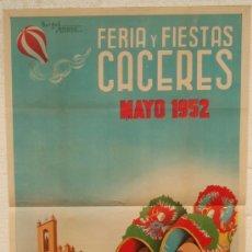 Carteles Feria: CARTEL FERIA FIESTAS, CACERES 1952 , LITOGRAFIA, ILUSTRADOR BURGOS SERRANO. Lote 23506434