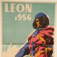 Affiches Foire: CARTEL FERIA FIESTAS, LEON 1956 GUZMAN EL BUENO , LITOGRAFIA, ILUSTRADOR LLAMASIL. Lote 15956773