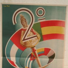 Carteles Feria: CARTEL FERIA FIESTAS, ZARAGOZA 1954, CONGRESO IBEROAMERICANO , LITOGRAFIA, ILUSTRADOR IVAN MORE. Lote 15957023