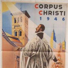 Carteles Feria: CARTEL FERIA FIESTAS, TOLEDO 1945 TURISMO CORPUS CHRISTI, LITOGRAFIA , ILUSTRADOR V QUISMONDO. Lote 74526782