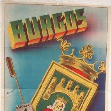 Carteles Feria: CARTEL FERIA FIESTAS, BURGOS 1947 , LITOGRAFIA , ILUSTRADOR I. GONZALO. Lote 15957639