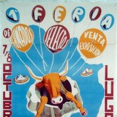 Carteles Feria: CARTEL FERIA FIESTAS, LUGO 1960 , LITOGRAFIA ,. Lote 15957980