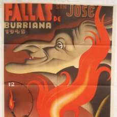 Carteles Feria: CARTEL FERIA FIESTAS, BURRIANA 1945 CASTELLON BRUJA, FALLAS S JOSE , LITOGRAFIA , ILUSTRADOR RUPERTO. Lote 23506441