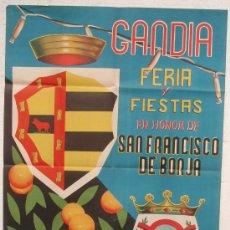 Carteles Feria: CARTEL FERIA FIESTAS, GANDIA 1958 VALENCIA , LITOGRAFIA, ILUSTRADOR ARACIL. Lote 15958244