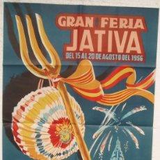 Carteles Feria: CARTEL FERIA FIESTAS, JATIVA 1956 VALENCIA , LITOGRAFIA, ILUSTRADOR VERNIA. Lote 68003453