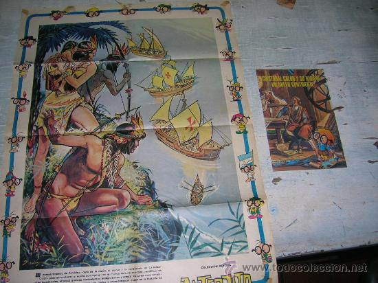 DIA DE LA RAZA CRISTOBAL COLON COLECCION ANTEOJITO DESCUBRIMIENTO AMERICA 12 DE OCTUBRE DE 1492 (Coleccionismo - Carteles Gran Formato - Carteles Ferias, Fiestas y Festejos)
