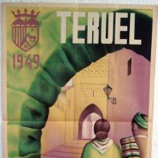 Carteles Feria: CARTEL TERUEL 1949 , FERIAS Y FIESTAS , LITOGRAFICO , ILUSTRADO POR ZUARA NOVELLA. Lote 169201641
