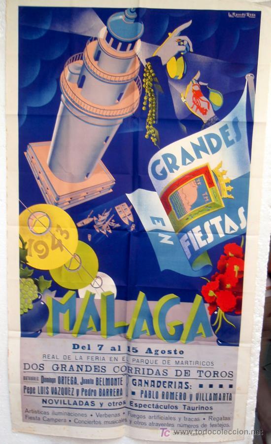 CARTEL FERIAS Y FIESTAS MALAGA , 1943 , LITOGRAFICO, ILUSTRADOR RAMOS ROSA (Coleccionismo - Carteles Gran Formato - Carteles Ferias, Fiestas y Festejos)