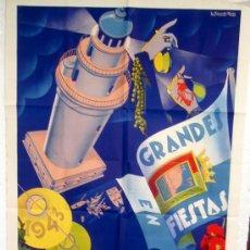 Carteles Feria: CARTEL FERIAS Y FIESTAS MALAGA , 1943 , LITOGRAFICO, ILUSTRADOR RAMOS ROSA. Lote 19677713