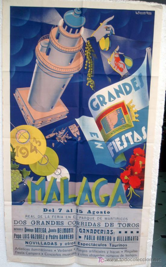 Carteles Feria: CARTEL FERIAS Y FIESTAS MALAGA , 1943 , LITOGRAFICO, ILUSTRADOR RAMOS ROSA - Foto 2 - 19677713