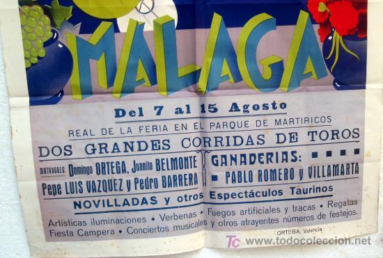 Carteles Feria: CARTEL FERIAS Y FIESTAS MALAGA , 1943 , LITOGRAFICO, ILUSTRADOR RAMOS ROSA - Foto 3 - 19677713