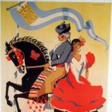 Carteles Feria: CARTEL JEREZ , 1957 , FERIA DE LA PRIMAVERA , LITOGRAFIA, ILUSTRADOR RUIZ SANCHEZ. Lote 19752265