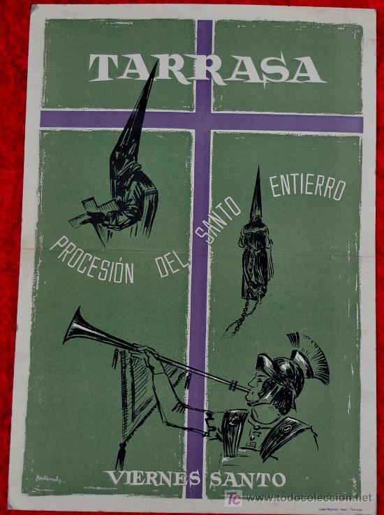 CARTEL DE TARRASA (TERRASSA) LITOGRAFICO DE PROCESION DEL SANTO ENTIERRO. VIERNES SANTO. FONTCASALS. (Coleccionismo - Carteles Gran Formato - Carteles Ferias, Fiestas y Festejos)
