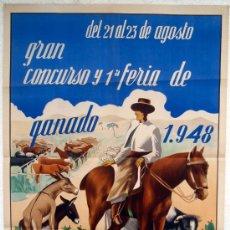 Carteles Feria: CARTEL ALMERIA 1948 , FERIA DE GANADO , ILUSTRADOR A. ANDUJAR. Lote 21516649