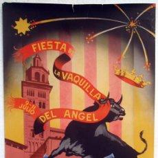 Carteles Feria: CARTEL TERUEL 1955 , FERIAS Y FIESTAS DEL ANGEL, LA VAQUILLA , ILUSTRADOR PERPIÑAN. Lote 21519322