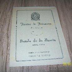 Carteles Feria: FIESTAS DE PRIMAVERA, MURCIA-BANDO DE LA HUERTA, ABRIL 1953-( 12 PÁG). Lote 21889914