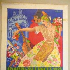 Carteles Feria: CARTEL PUBLICITARIO, GRAN FERIA DE VALENCIA, 1928, TOROS, BAILES, DESFILES, MUSICA, BARREIRA. Lote 22646228