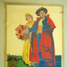 Carteles Feria: CARTEL PUBLICITARIO, GRAN FERIA DE VALENCIA, 1925, TOROS, BAILES, DESFILES, MUSICA, CANET, MEDIDAS: . Lote 22646387