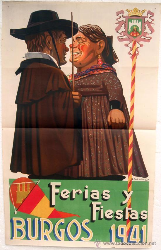 CARTEL FERIAS Y FIESTAS BURGOS 1941 , GIGANTES Y CABEZUDOS ,LITOGRAFIA, ILUSTRADOR LEONCIO GARCIA (Coleccionismo - Carteles Gran Formato - Carteles Ferias, Fiestas y Festejos)