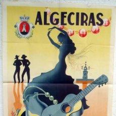 Carteles Feria: CARTEL FERIAS Y FIESTAS ALGECIRAS 1948 , CADIZ ,LITOGRAFIA, ILUSTRADOR A. MUÑOZ. Lote 22928316