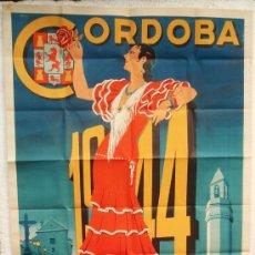 Carteles Feria: CARTEL FERIAS Y FIESTAS CORDOBA 1944 , FORMATO MUY GRANDE ,LITOGRAFIA, DE MARCELINO HERREROS. Lote 22928652
