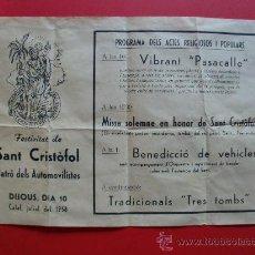 Carteles Feria: FESTIVITAT DE SANT CRISTÒFOL PATRO DELS AUTOMOVILISTES CALAF 1958. Lote 27133020