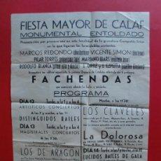 Carteles Feria: FIESTA MAYOR DE CALAF SEPTIEMBRE DE 1943 LOS FACHENDAS. Lote 27136804