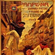 Carteles Feria: SAN FERMIN. PAMPLONA 1909. CARTEL DE FIESTAS EN CUADRO HECHO EN TABLA DE 40 X 28 CM. . Lote 77505325