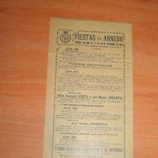 Carteles Feria: FIESTAS EN ARNEDO 26,27,28,Y 29 DE SEPTIEMBRE DE 1921. Lote 27249917