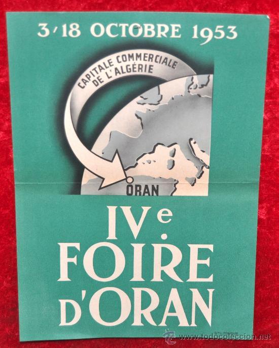 CARTEL IV FERIA D'ORAN. ALGERIA. 1953. MIDE 29 CM X 21 CM. (Coleccionismo - Carteles Gran Formato - Carteles Ferias, Fiestas y Festejos)