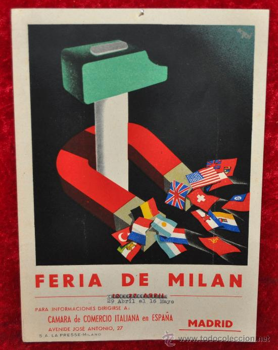 CARTEL FERIA DE MILAN, EN CARTON DURO. AÑOS 50S. MIDE 24 CM X 17 CM. (Coleccionismo - Carteles Gran Formato - Carteles Ferias, Fiestas y Festejos)