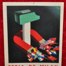 Carteles Feria: CARTEL FERIA DE MILAN, EN CARTON DURO. AÑOS 50S. MIDE 24 CM X 17 CM. . Lote 25312798