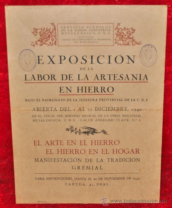CARTEL EXPOSICION DE LA LABOR DE LA ARTESANIA EN HIERRO. 1940. MIDE 42 CM X 32 CM. (Coleccionismo - Carteles Gran Formato - Carteles Ferias, Fiestas y Festejos)