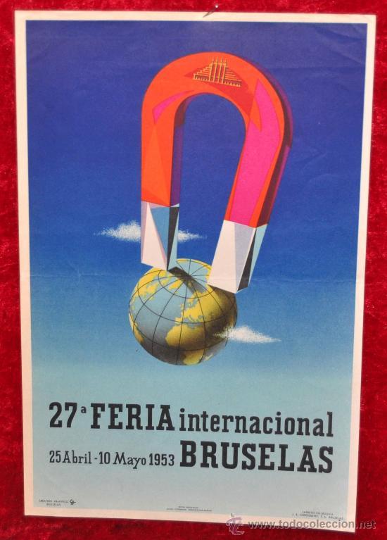 CARTEL DE XXVII FERIA INTERNACIONAL DE BRUSELAS BELGICA 1953. MIDE 30 CM X 20 CM. (Coleccionismo - Carteles Gran Formato - Carteles Ferias, Fiestas y Festejos)