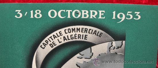 Carteles Feria: Cartel IV feria dOran. Algeria. 1953. Mide 29 cm x 21 cm. - Foto 2 - 25312411