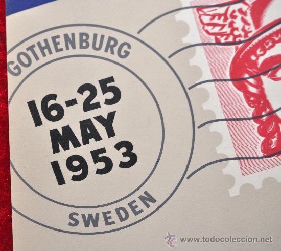 Carteles Feria: Cartel feria de Gottenburg de 1953. Feria de industria sueca. En carton. Mide 30 cm x 21 cm. - Foto 2 - 25312462