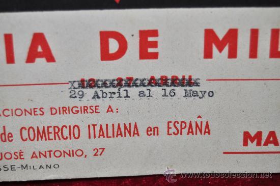 Carteles Feria: Cartel feria de Milan, en carton duro. Años 50s. Mide 24 cm x 17 cm. - Foto 2 - 25312798