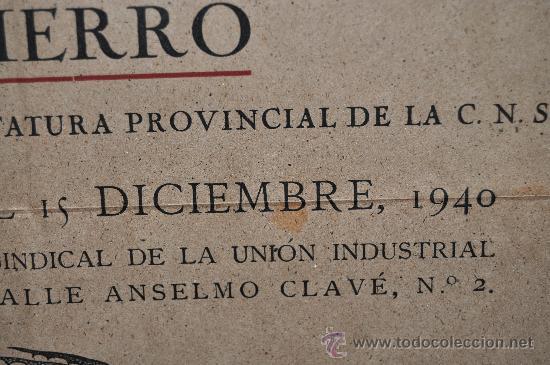 Carteles Feria: Cartel exposicion de la labor de la artesania en hierro. 1940. Mide 42 cm x 32 cm. - Foto 2 - 25315703
