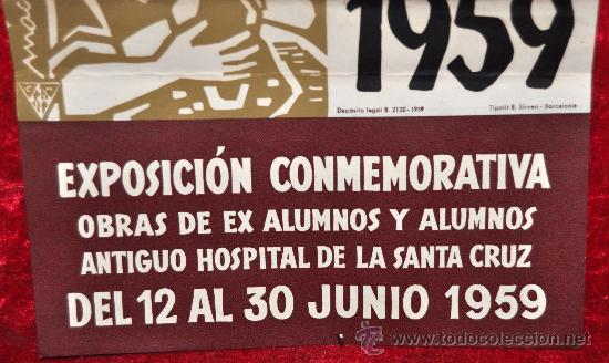 Carteles Feria: Cartel XXX aniversario de la Escuela Massana. 1959. Mide 58 cm x 20 cm. - Foto 2 - 25316454
